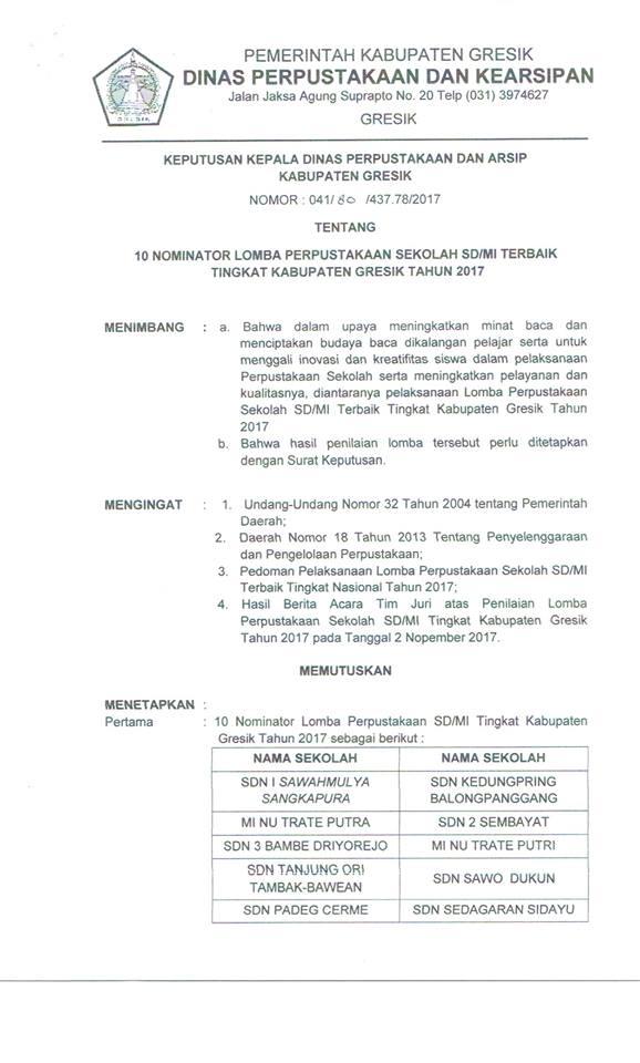 10 NOMINATOR LOMBA PERPUSTAKAAN SEKOLAH SD / MI TERBAIK TINGKAT KABUPATEN GRESIK TAHUN 2017